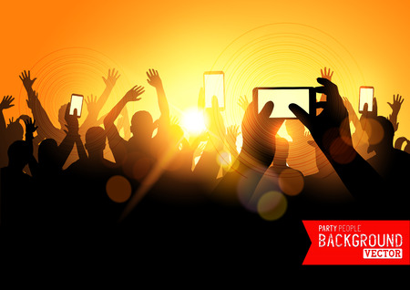 gig: Festival Crowd Vector, people at a concert with smartphones. Vector illustration