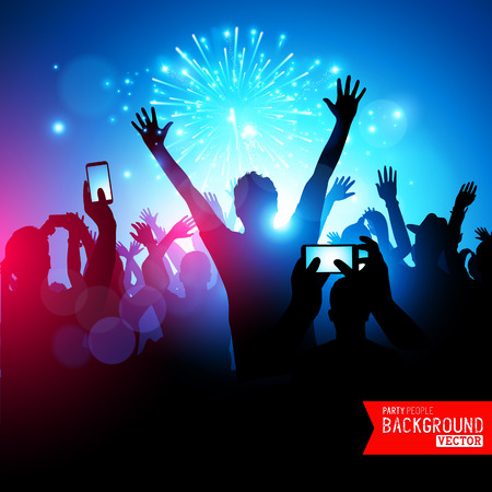 crowd happy people: Big Party Crowd. A huge crowd of young people celebrating. Vector illustration.