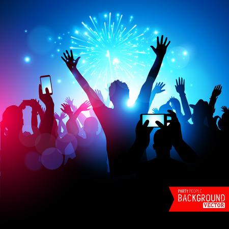 fuegos artificiales: Big Party Crowd. Una gran multitud de jóvenes celebrando. Ilustración del vector.