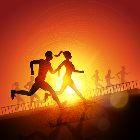Keep Running - Group Of Runners, men and women running to keep fit. Vector illustration. Vector