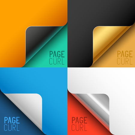 peeling corner: Vector Page Curls. Turn page corners for designs. Vector illustration.