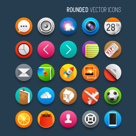 Rounded Vector Icons. Set of vector interface icons and symbols. Vector