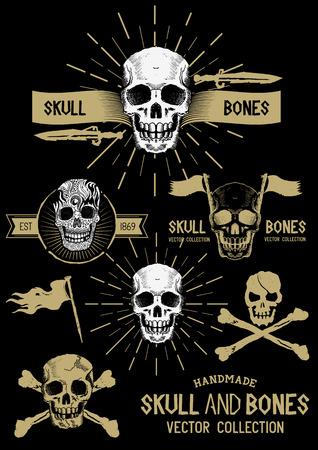 cuchillos: Pirate Skull and Bones set con diversos elementos de dise�o. Vectores