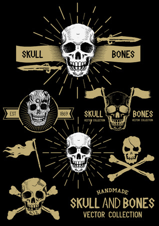 skull tattoo: Pirate Skull and Bones Set with various design elements.
