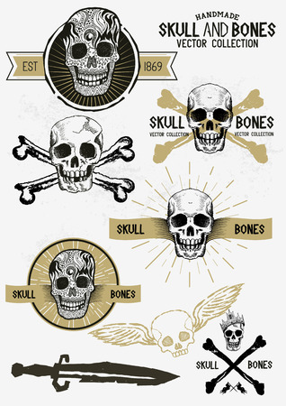 Pirate Skull and Bones Set with various design elements. Vector