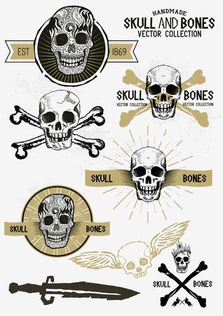 skull and cross bones: Pirate Skull and Bones Set with various design elements.