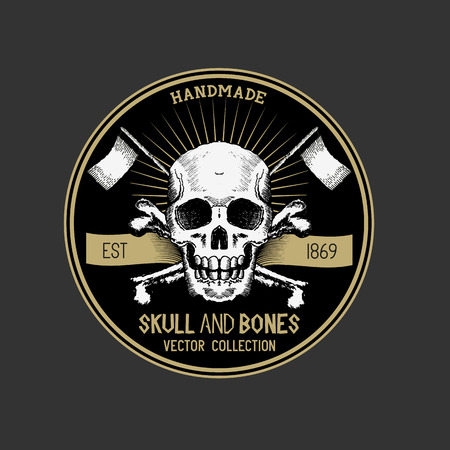 Pirate Skull design label. Vector