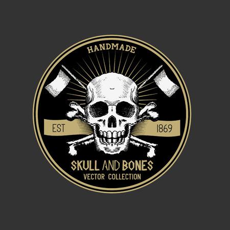 jolly roger pirate flag: Pirate Skull design label.