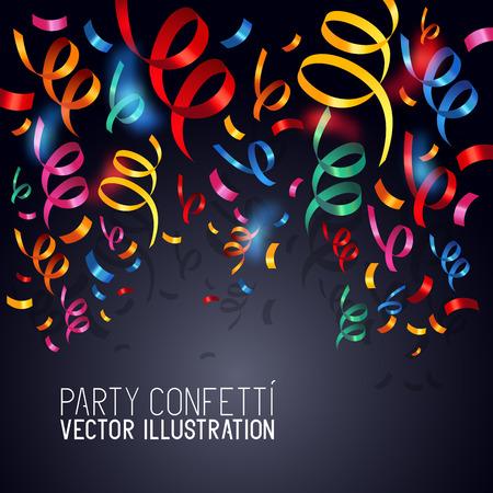 konfeti: Parti Konfeti. Renkli konfeti arka plan vektör çizim.
