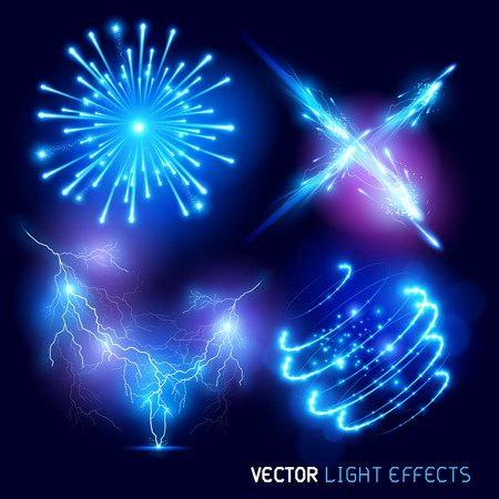 light rays: Vector special effects Collection. Set of various light effects and symbols, vector illustration.