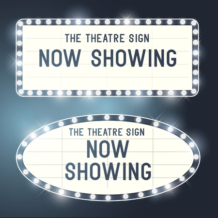 business sign: Vintage Showtime theatre cinema Signs with a glamorous feel  Vector illustration