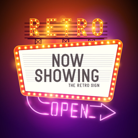 film: Retro Showtime Sign  Theatre cinema Sign with a glamorous feel  Vector illustration