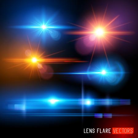 Światła: Wektor Flary zestaw - ilustracji wektorowych efekty światła obiektywu