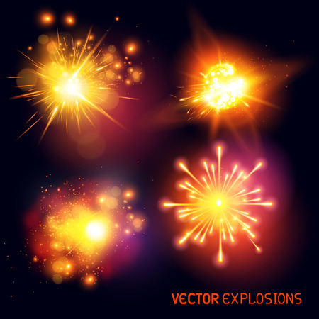 Vector Explosions - collection of fireballs and special effect explosions  Vector illustration