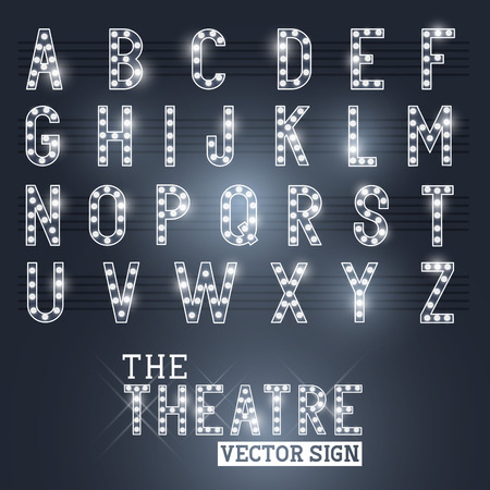 Glamorous Showtime Theatre Sign and Alphabet  Vector illustration