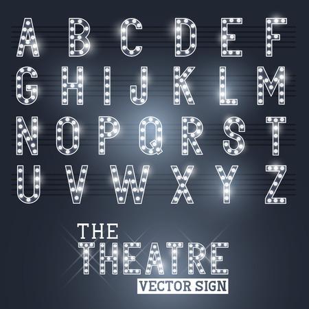 alfabeto: Muestra atractiva Showtime Teatro y la ilustraci�n vectorial Alphabet Vectores