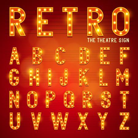 letrero: Retro Bombilla Alphabet Glamorous showtime teatro alfabeto ilustración vectorial