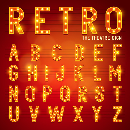 Retro Lightbulb Alphabet Glamorous showtime theatre alphabet  Vector illustration  Çizim