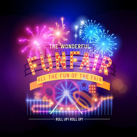 fondo de circo: Parque de atracciones y el parque de la vendimia del circo y firmar ilustración vectorial