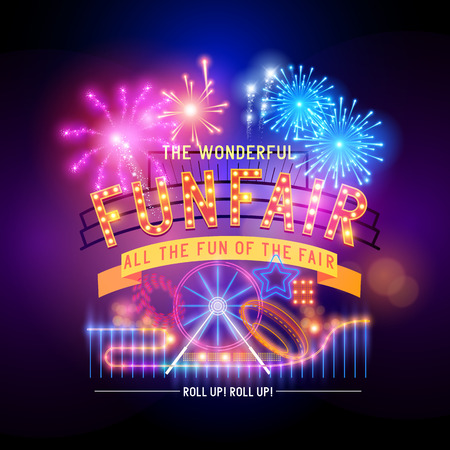 neon: Vintage funfair and circus park and sign  Vector illustration