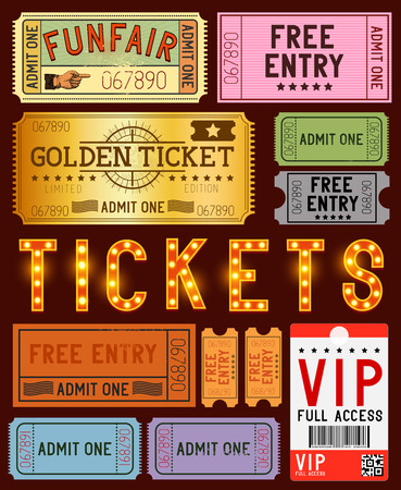 old movies: A collection of various ticket designs  Vector illustration