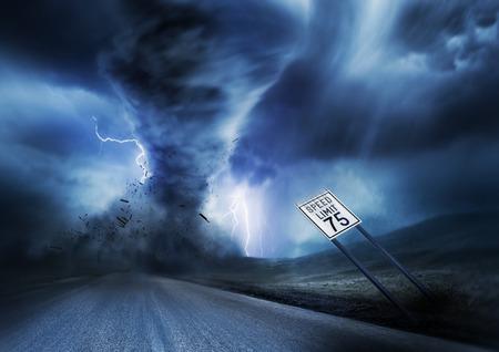 A large storm producing a Tornado, causing destruction. Illustration.