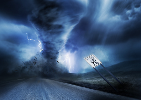storm: A large storm producing a Tornado, causing destruction. Illustration.