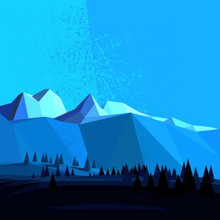 Low Poly Vector Mountain landscape. Ilustracja
