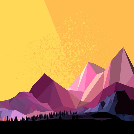 Low Poly Vector Mountain landscape. Illustration