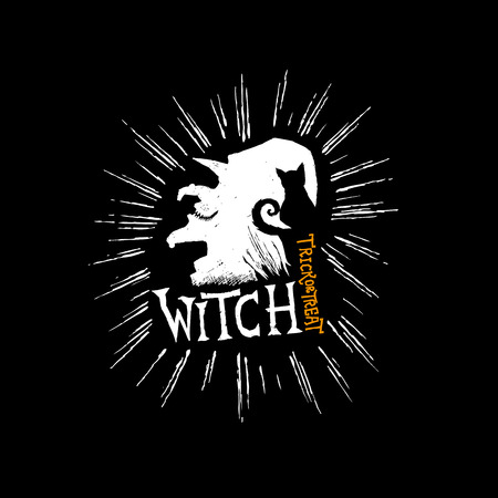 Witch and Cat spooky halloween hand drawn elements. Vector