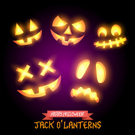 Halloween Jack O Lanterns, various pumpkin halloween faces. Vector illustration. Vector