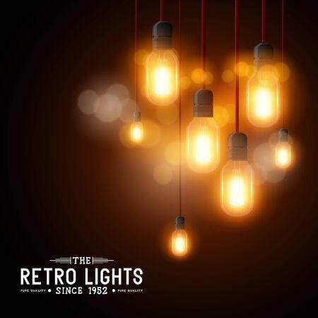 Vintage Vector Light bulbs - vector illustration Vector