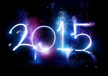 nouvel an: 2015 Fireworks partie - Happy c�l�brations d'affichage du Nouvel An!