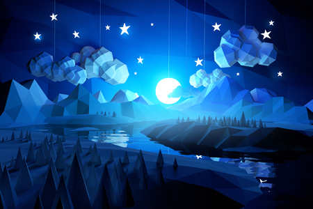 paper cut out: Low poly handmade feel landscape with mountains and a river at midnight.