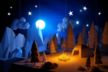 the 3d: 3D bajo Poli Handemade siente acampar paisaje aventura. Acampar bajo la luna llena.