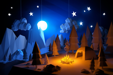 Low Poly 3D handemade feel camping adventure landscape. Camping under a full moon.