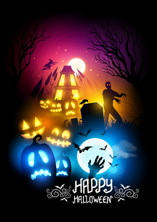 haunted house: A spooky collection of halloween themed designs. Vector illustration.