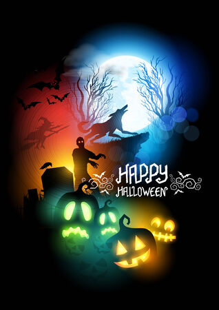 horror house: Happy Halloween Scenic vector illustration with a werewolf, zombie and Jack O Lanterns.