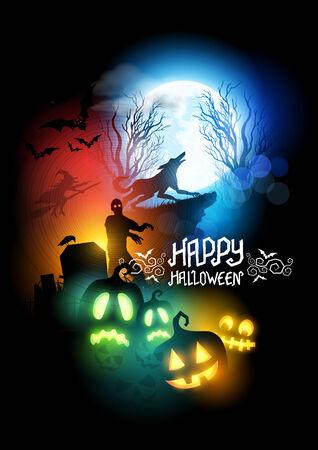 loup garou: Happy Halloween vecteur Scenic illustration avec un loup-garou, zombie et lanternes Jack O '.