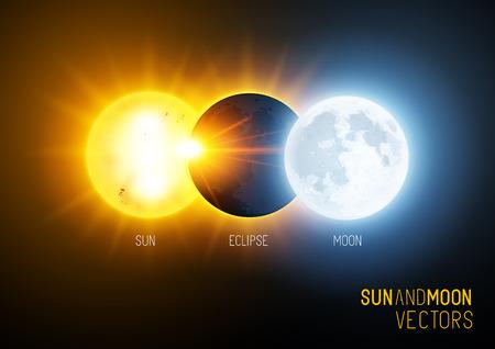 sol y luna: Ilustración vectorial de un eclipse total, el sol y la luna. Ciencia y educación vector.