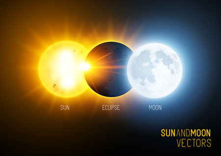 full day: Vector illustration of a total eclipse , the sun and moon. Science and education vector.