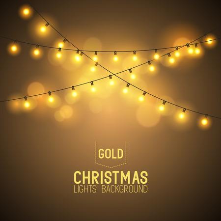 christmas design: Warme gloeiende Kerstverlichting. Vector illustratie Stock Illustratie