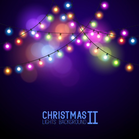 Colourful Glowing Christmas Lights. Vector illustration Çizim