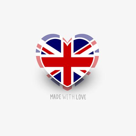 bandera de reino unido: Coraz�n de la bandera del Reino Unido forma vectorial. Ilustraci�n del vector.