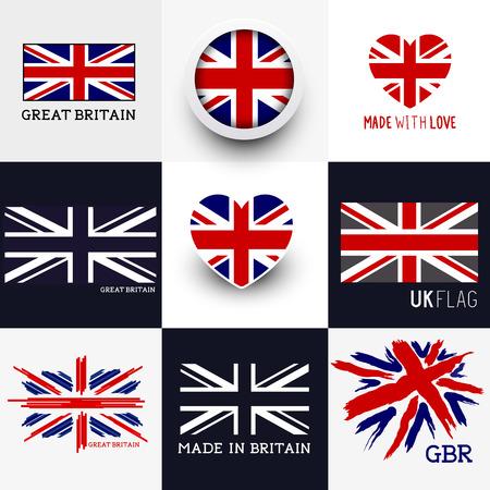 bandera de gran bretaña: Vector Union Jack Colección. Conjunto de diversas banderas británicas y los símbolos del Reino Unido, ilustración vectorial.