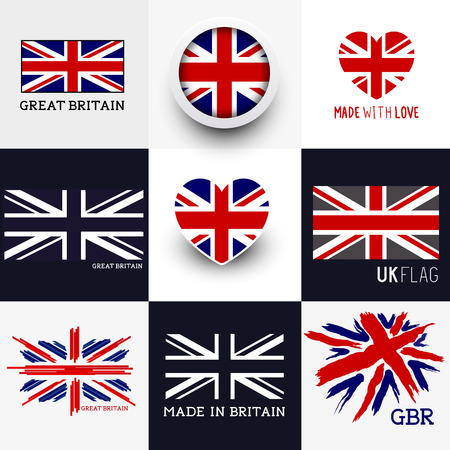 Vector Union Jack Collection. Set of various British flags and UK symbols, vector illustration. Stock Illustratie