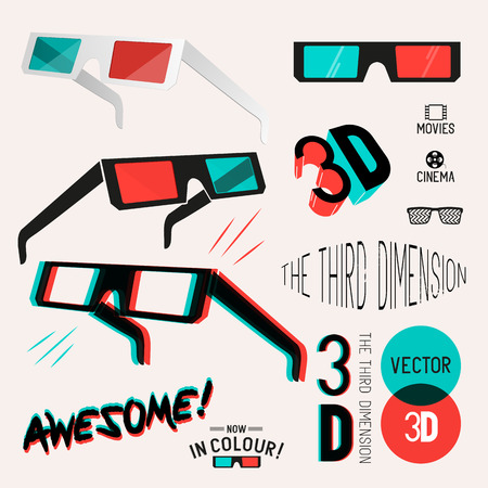 A collection of vector symbol design 3D glasses used for viewing retro 3D images and movies. Vector illustration Set. Vector