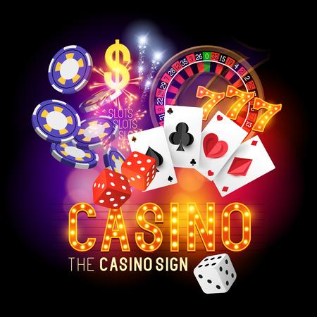 Casino Party Vector - Rol de dobbelstenen - winnen! Casino vectorillustratieontwerp met poker, speelkaarten, slots en roulette. Gloeiende Casino teken. Gelaagde illustratie. Vector Illustratie