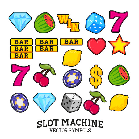 A collection of vector Slot Machine  fruit machine Symbols Иллюстрация