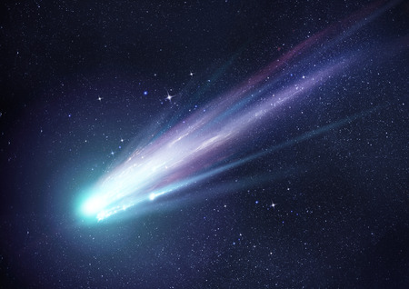 A bright comet with large dust and gas trails as the comets orbit brings it close to the Sun. Illustration. Imagens